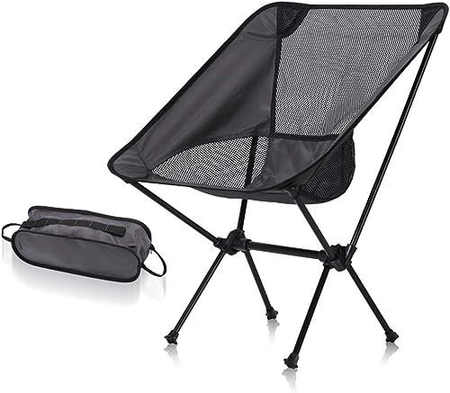 QZH Chaise Pliante Portable Ultra-légère extérieure avec Sac fourre-Tout, Chaise de Plage Pliante, capacité de 300 Livres pour Le Camping,noir2