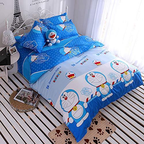 GYCZC Ropa de Cama de algodón de Rayas Simples (con Cremallera, Funda de Almohada) Contiene 4 Piezas Doraemon Quilt Cover 220x240cm Hojas 230x250cm