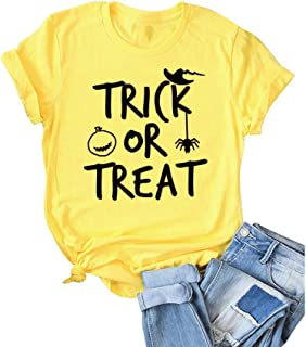 Women Trick Or Treat Letter Print Tops Casual Short Sleeve Tee Pumpkin Graphic Novelty T-Shirt for Halloween
