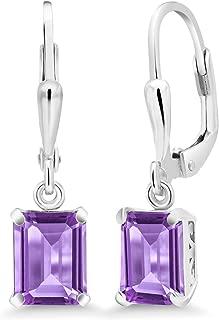 Purple Amethyst 925 Sterling Silver Earrings Emerald Cut Gemstone Birthstone 3.00 Cttw