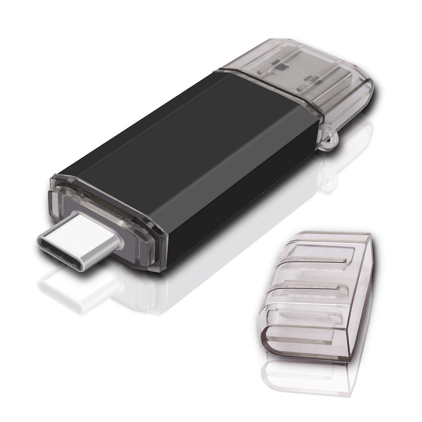 学校無条件グリースKEXIN USBメモリースティック 128GB 3.0 フラッシュドライブ 128G OTG USBフィギュア フラッシュメモリ USB Type C メモリ 高速データ転送 Windows PC MacBook Pro に対応 黒