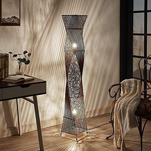 Lindby Rattan Stehlampe | Stehleuchte Höhe 150 cm mit Fußschalter | Standleuchte 2 flammig | E27 Fassung max. 60W | ohne Leuchtmittel | Ethnostyle