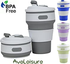 AVALEISURE Collapsible Coffee Mug – a Foldable 12oz Drinking Cup with Lid for Water, Coffee, Tea, Soft Drinks, Ideal for Camping, Travel, Hiking, Picnic, Lunch