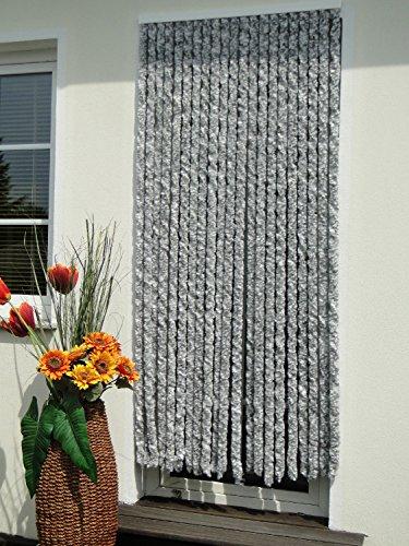 Chenille Flausch Türvorhang 90x200 cm Silber weiß