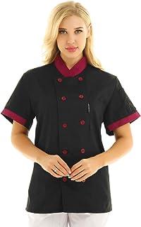 YiZYiF Unisex Women Mens Chef's Jacket Coat Uniform Kitchen Short Sleeve Mandarin Collar Double-Breasted Coat