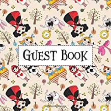 Guest Book: Alice In Wonderland Queen of Hearts White Rabbit Pattern Edition