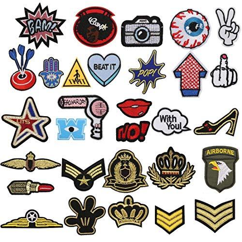 Tatuer Patches zum Aufbügeln 30 STK Aufbügelflicken Sticker Applikation DIY Aufnäher Denim Patches Set Bügelflicken Kinder Jungen für T-Shirt Jeans Tasche Kleidung Reparatursatz