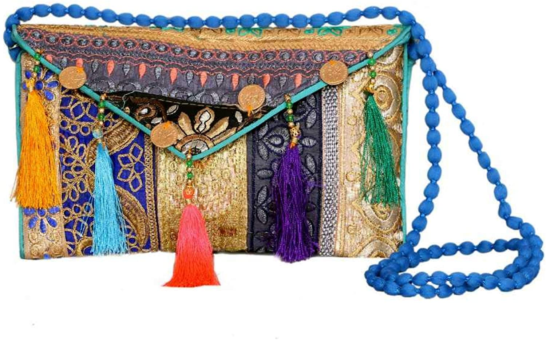 Panchal Creation Wholesale 50 pc lot Bulk Indian Vintage Hand Bag Traditional Bridal Clutch Beaded Shoulder Bag potli Pouch Hand Bag Purses Women Purse by Craft Place M -47