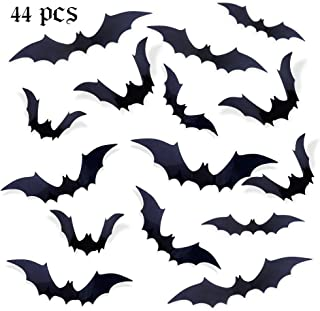 eZAKKA Halloween 3D Scary Bats Wall Stickers Decals Party Supplies for Window Home Door Decor, 44 Pcs, Black