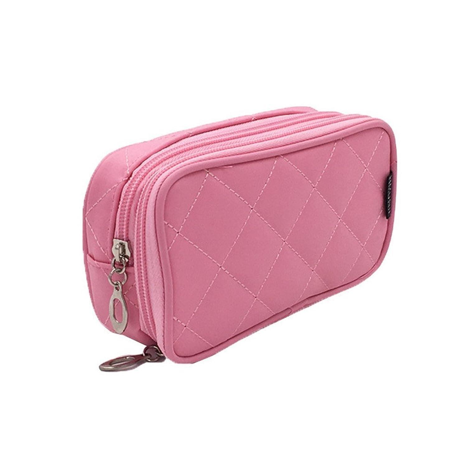 反応する追うほかにKingsie 化粧ポーチ 化粧バッグ 機能的 化粧品 ブラシ収納 メイク収納 トラベルポーチ コスメポーチ 2層 鏡付き (ピンク)