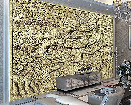 Benutzerdefinierte Wallpaper Stone Carved Relief Drachen Sandstein TV Hintergrund Wand Wohnzimmer Schlafzimmer Hintergrund 3D Wallpaper-150 * 105Cm