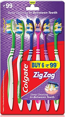 Colgate Zigzag Toothbrush Medium Pack Of 6