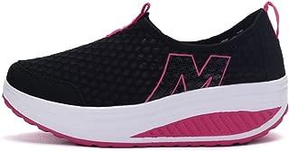 Ladies Toning Rocker Shoes Womens Mesh Slip On Wedges Tennis Platform Walking Sneakers