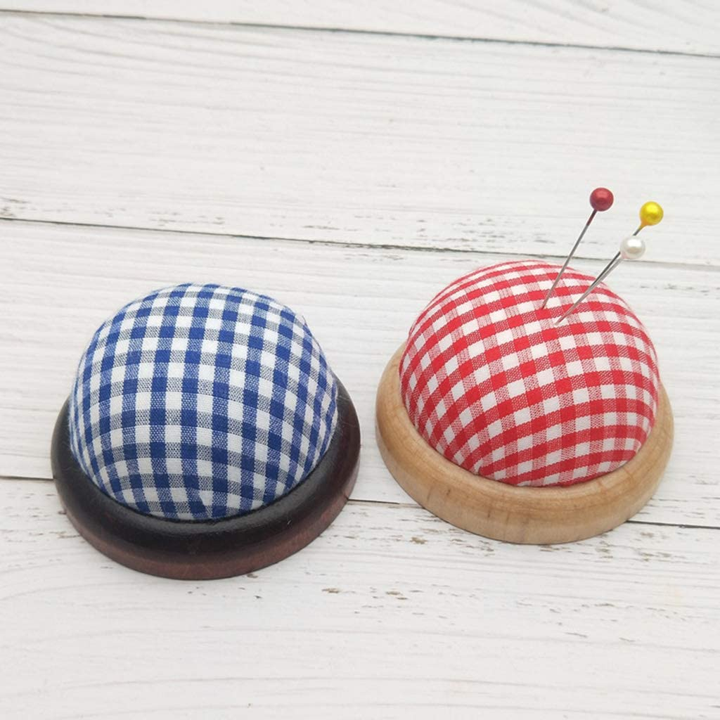 jinetor Round Needle Pin Cushion with Wooden Base Pincushion Needles Collect Holder Organizer Sewing Storage Accessories Handcraft Tools Blue