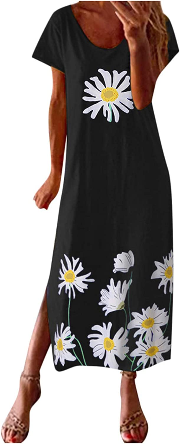 Dresses for Women Casual, Women's Round Neck Short Sleeve Printing Casual Vintage Bohemian Maxi Daily Dress