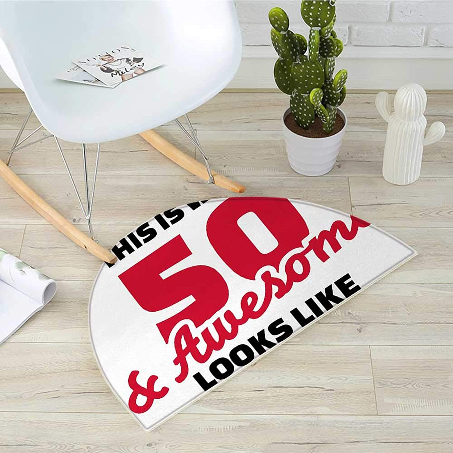 50th Birthday Half Round Door mats Fifty and Awesome Cool and Fun Hand Written Style Happy Cheer Slogan Bathroom Mat H 39.3  xD 59  Red Black White