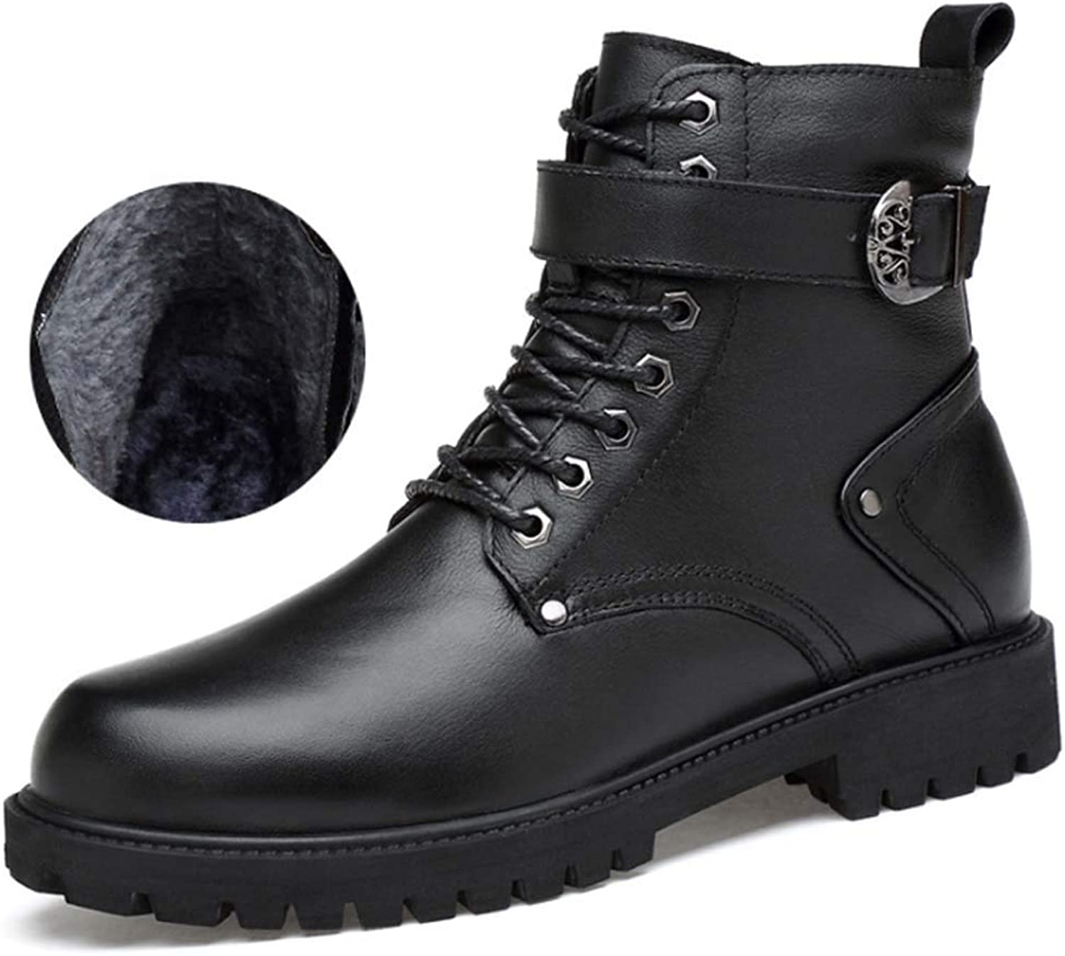 Men Leather Combat Boots,Winter Lace Up Martin Boots Hiking Walking Ankle Boots shoes Waterproof Comfortable Sneakers