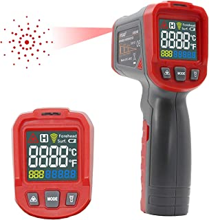 Laser Digital Infrared Thermometer Temperature IR Gun 12 Point Non Contact with Color LCD Adjustable Emissivity and Max Measure for Indoor Outdoor Industry Use -50~550℃