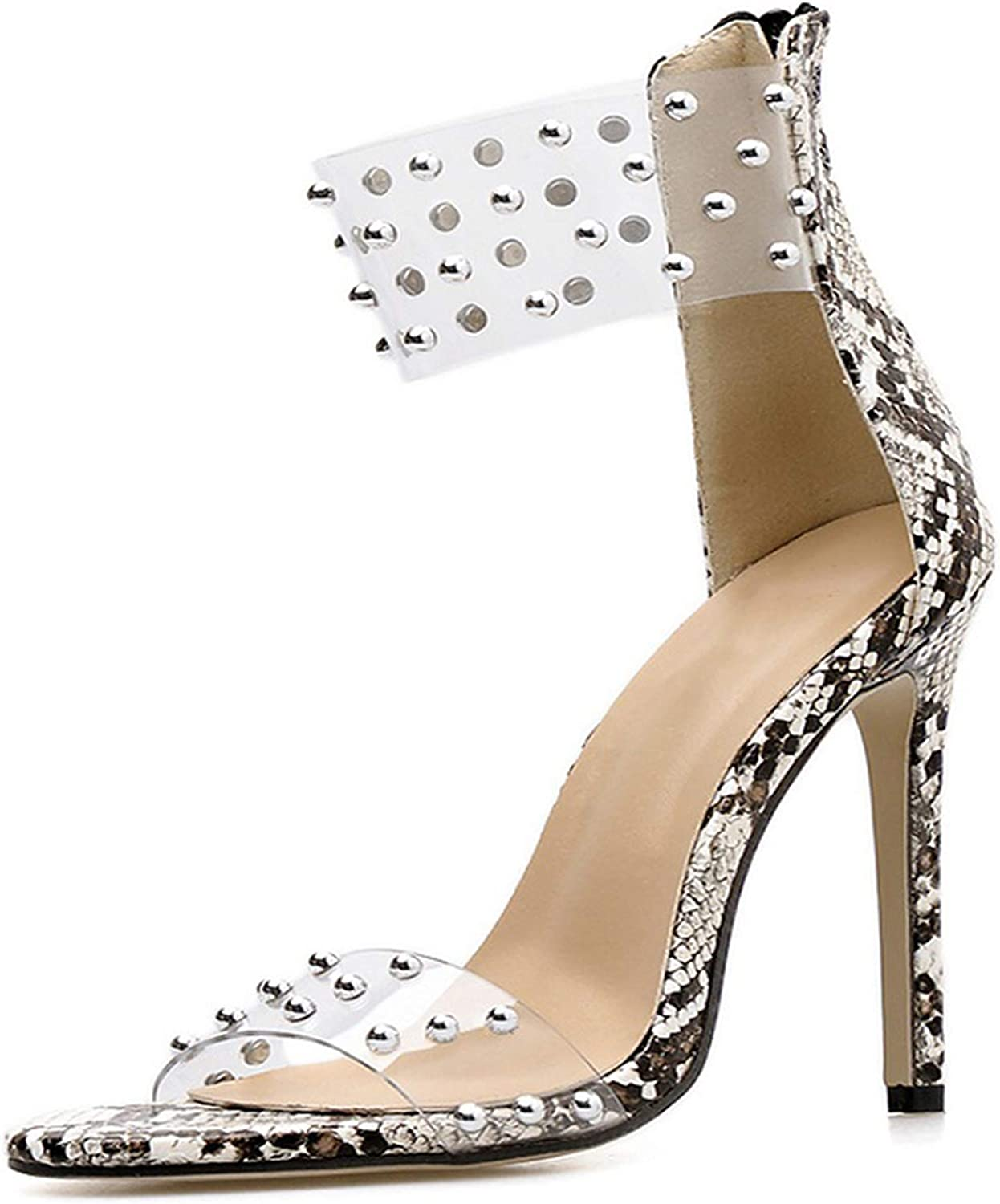 Summer PVC Rivets Sandals Party Sexy Transparent Pointed Sexy Open Toe High Heels,Snake,4