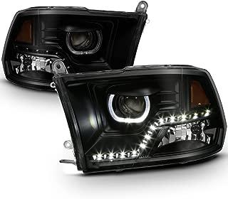 ACANII - For Black Smoke 2009-2018 Dodge Ram 1500 2500 3500 SMD LED Halo Projector Headlights Driver + Passenger Side