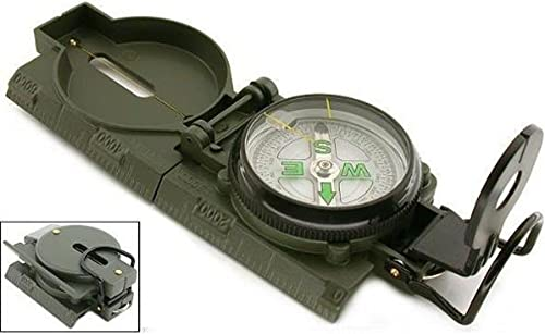 high quality Mallofusa Army Green Hiking Compass, Military Outdoor Camping Survival 2021 Climbing Biking Metal Sighting Compass with Foldable Metal online Lid outlet online sale
