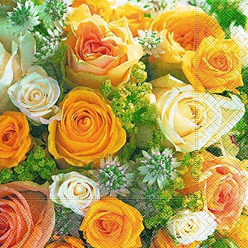 40 Servietten Rosenstrauß (Bouquet of roses) Hochzeit 1/4 gefalzt, 3-lagig Größe offen: 33x33
