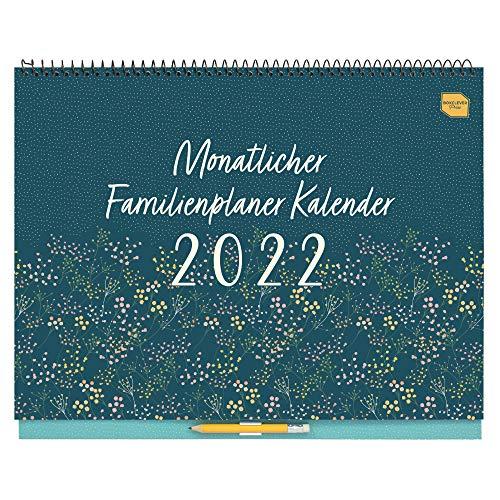 (en alemán) 'Monatliche Familienplaner' de Boxclever Press. Planificador Mensual. Calendario 2021 2022 Pared, Formato 6 Columnas. Calendario 2021 2022 Sep'21-Dic'22. Calendario de Pared con Pestañas.