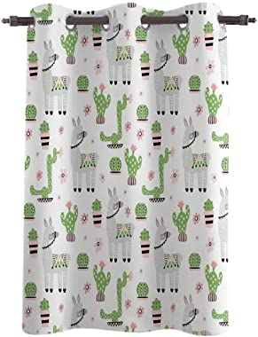 Blackout Curtain Window Drapes Cartoon Alpaca Cactus Flower Animal Pattern Thermal Insulated Curtains Room Darkening for Living Room Bedroom Window Treatments 52x63inch Green
