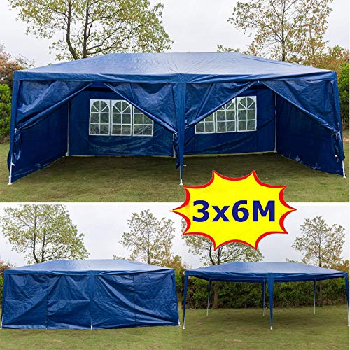Küchenks Waterproof 3m x 6m PE Gazebo Marquee Awning Party Tent Canopy with 6 removable Side Panels, Blue, 120g PE Power Coated Steel Frame