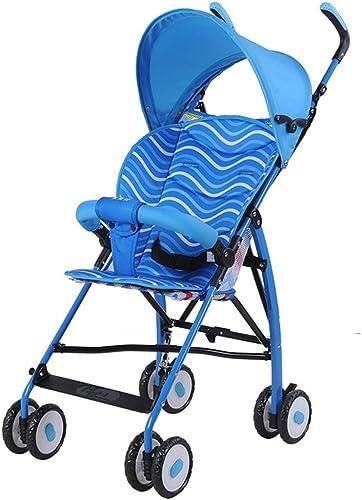 Kinderwagen Ultraleichter tragbarer Kinderwagen Travel Baby Folding Car Einfach zu verwenden (Farbe   Blau)