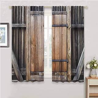 GUUVOR Antique Room Darkened Heat Insulation Curtain Rustic Antique Wooden Door Exterior Facades Rural Barn Timber Weathered Display Living Room W54 x L84 Inch Brown Orange