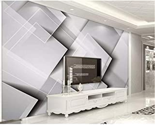 Pbldb Geometric Gradient Square Wallpaper Three-Dimensional Gray Bedroom Tv Background Wall Home Decoration 3D Wallpaper-200X140Cm