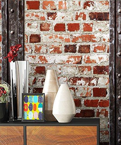 Steintapete Rot Weiß Rustikal Natur Eisen Stein, schöne edle Tapete im Steinmauer Loft Design, moderne 3D Optik für Wohnzimmer, Schlafzimmer oder Küche inkl. Newroom Tapezierbroschüre