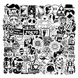 Cool Black White Stickers Sheets Waterproof Sticker Packs 100 Pcs for Laptop Waterbottles Skateboard Car Stickers