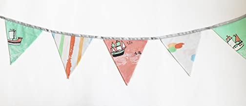 Silverlinen Cotton Fabric Bunting Sea and Ships Triangle Flags Decoration Set for Kids Room (Green and Pink)