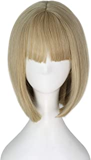 Miss U Hair Short Straight Bob Hair with Full Bangs Lolita Daily Wear Anime Cosplay Party Wig (Blonde)