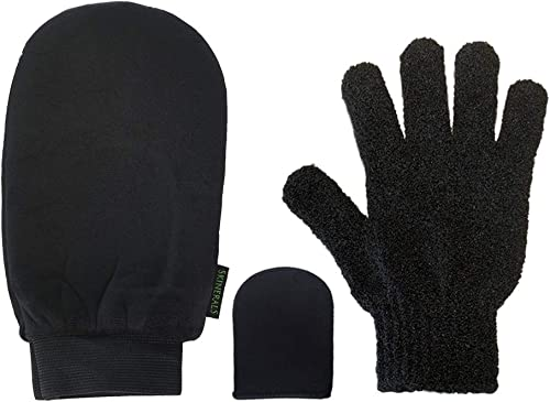 Skinerals Padded Microfiber Applicator Self Tanning Mitt Set with Exfoliator Glove and Face Mitt for Sunless Tanner a...