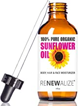 Renewalize ORGANIC SUNFLOWER SEED OIL FACE MOISTURIZER - 4oz size | All Natural Cold Pressed 100 Pure - High Linoleic | Be...