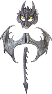 3-Piece Halloween Dragon Costume for Adults – Medieval Fantasy Mask, Wings, Tail