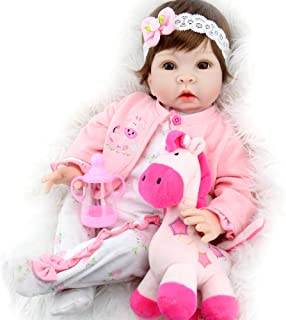 Aori Realistic Baby Doll Lifelike Weighted Baby Reborn Girl Doll 22 Inch with Pink Horse and Accessories
