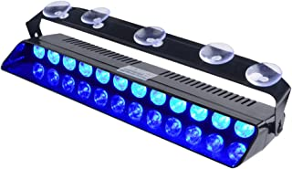 WOWTOU Emergency Blue Light, 16 Flashing Modes 12W Bright LED Strobe Lighting for Volunteer Firefighter Vehicle Dash Deck Windshield