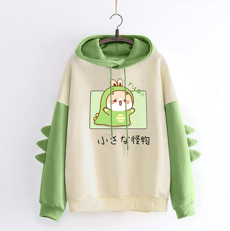 JMMSlmax Women's Dinosaur Sweatshirt Ladies Teen Girls Cute Hoodies Casual Loose Pullover Tops Hooded Sweatshirt