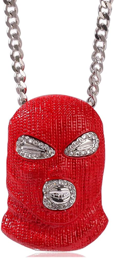 Nsitbbuery Hip Hop Crystal Eye Red Mask Tag Pendant Stainless Steel Chain Necklace