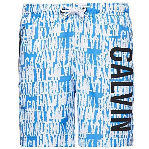 Calvin Klein Boys Intense Power Swim Shorts Azul & Blanco Logo