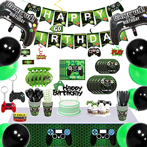 176Pcs Video Game Party Supplies & Gamer Birthday Decorations for Boys Serves 16 Guests Paper Plates, Cups, Napkins, Straws, Hanging Swirls, Balloons, Birthday Banner, Key Chain Much More
