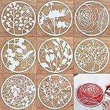 Plantillas de plástico creativas para manualidades, 8 piezas, patrón de flores, reutilizables, redondas, para manualidades, tarjetas de felicitación (8 flores)