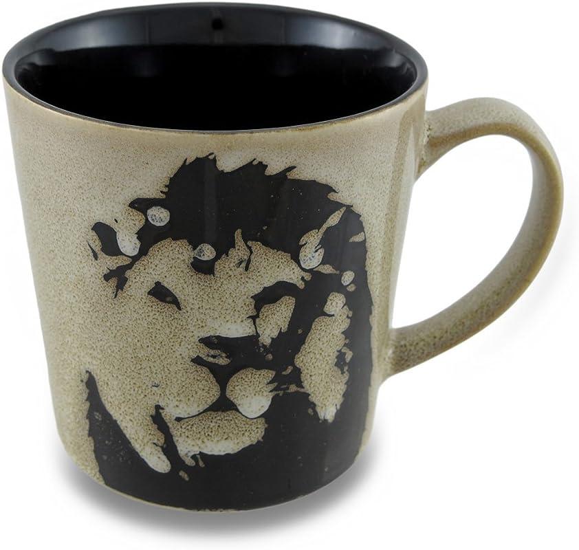 Large Ceramic 17 Oz Mug With Stencil Style Safari Lion Design
