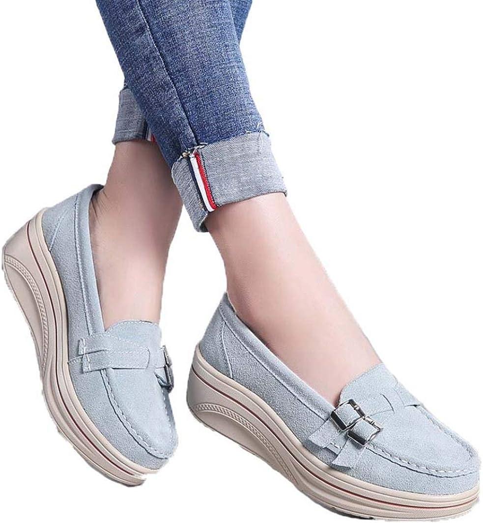 Zapatos de Plataforma de Mujer de Moda Hebilla Doble Mocasines Planos de Gamuza Resistente Resbal/ón en Punta Redonda Zapatos de cu/ña Casuales para Mujer