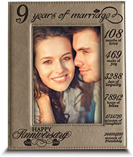BELLA BUSTA-9 Years of Marriage -Our 9th for Husband, Wife-Engraved Leather Picture Frame (4 x 6 Vertical)
