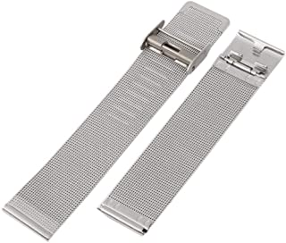 for 12-24mm Women Men Stainless Steel Metal Milanese Watchband Watch Band Strap Bracelet Black Rose Gold Silver,Silver,20mm